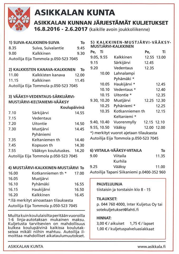 Asikkalan kunnan kuljetukset 2016-2017